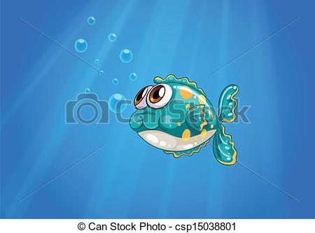 Vector Clipart of A bubble fish under the sea.
