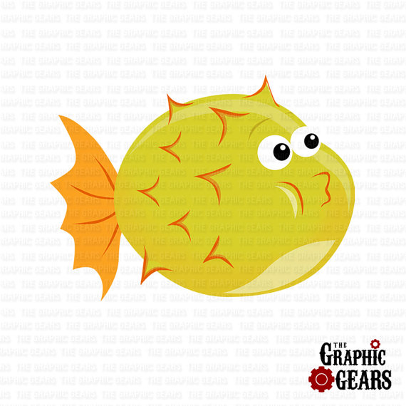 Cute baby puffer fish clipart.