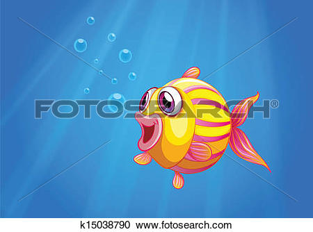 Clipart of A colorful bubble fish under the sea k15038790.