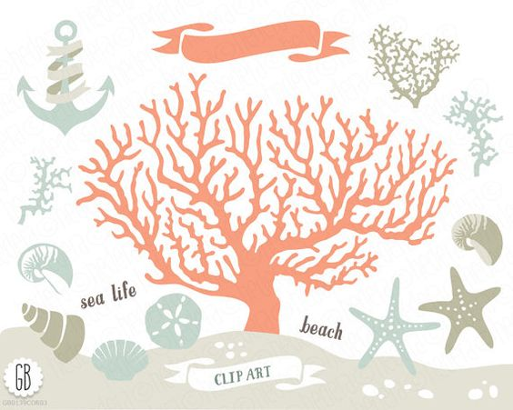 Coral beach sea life vector clip art, corals, starfish, sand.
