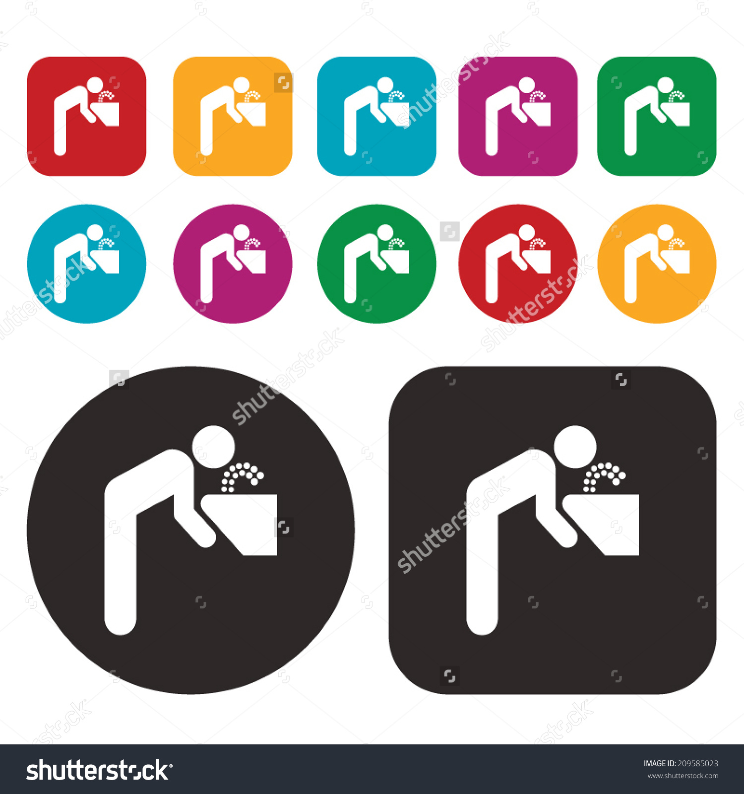 Water Drinking Icon Drinking Fountain Icon Stock Vector 209585023.