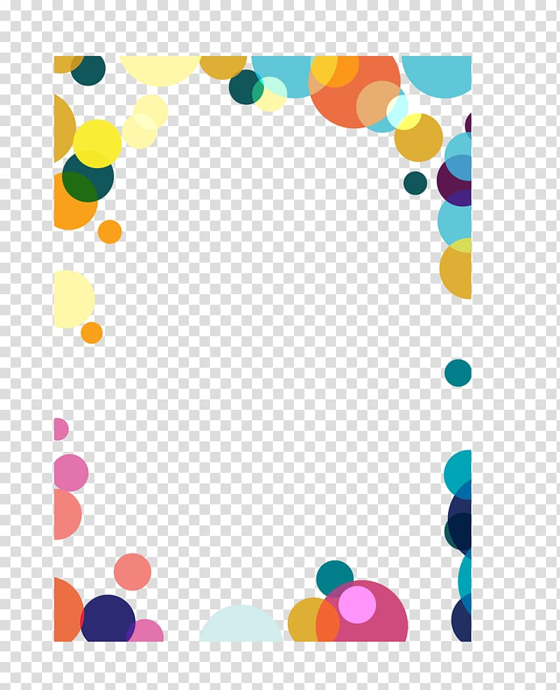 Multicolored bubbles , Point , hand colored dots border.