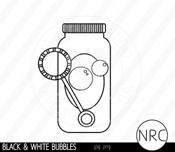 Black and White Blowing Bubbles Clip Art.