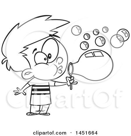 Clipart Graphic of a Cartoon Black and White Lineart Boy Blowing.