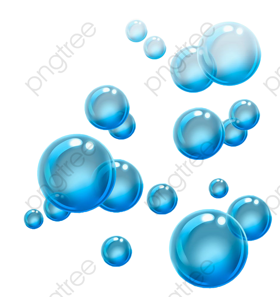 Blue Floating Water Bubbles, Water Clipart, Bubbles Clipart, Blister.