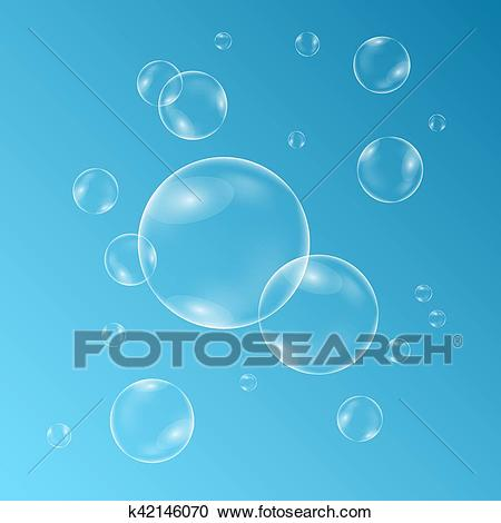 Underwater sparkling oxygen bubbles in water on transparent background.  Clipart.