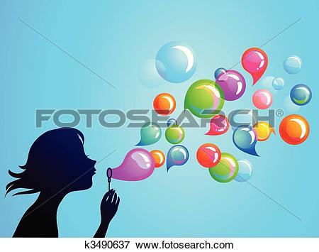Stock Illustration of A young girl blowing bubbles yun0015.
