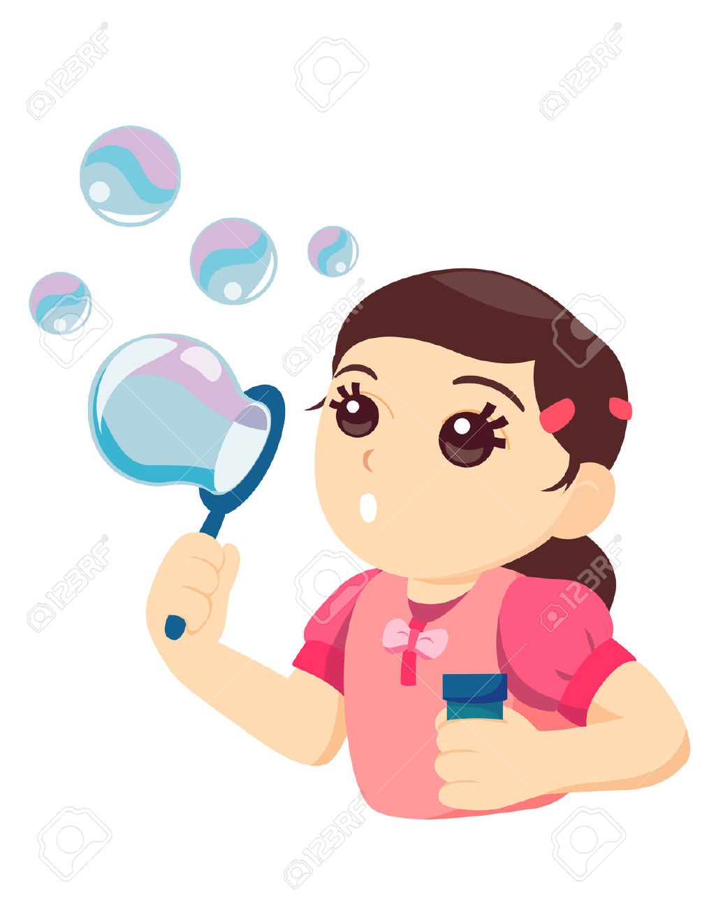 Cute clipart of kid blowing bubbles.