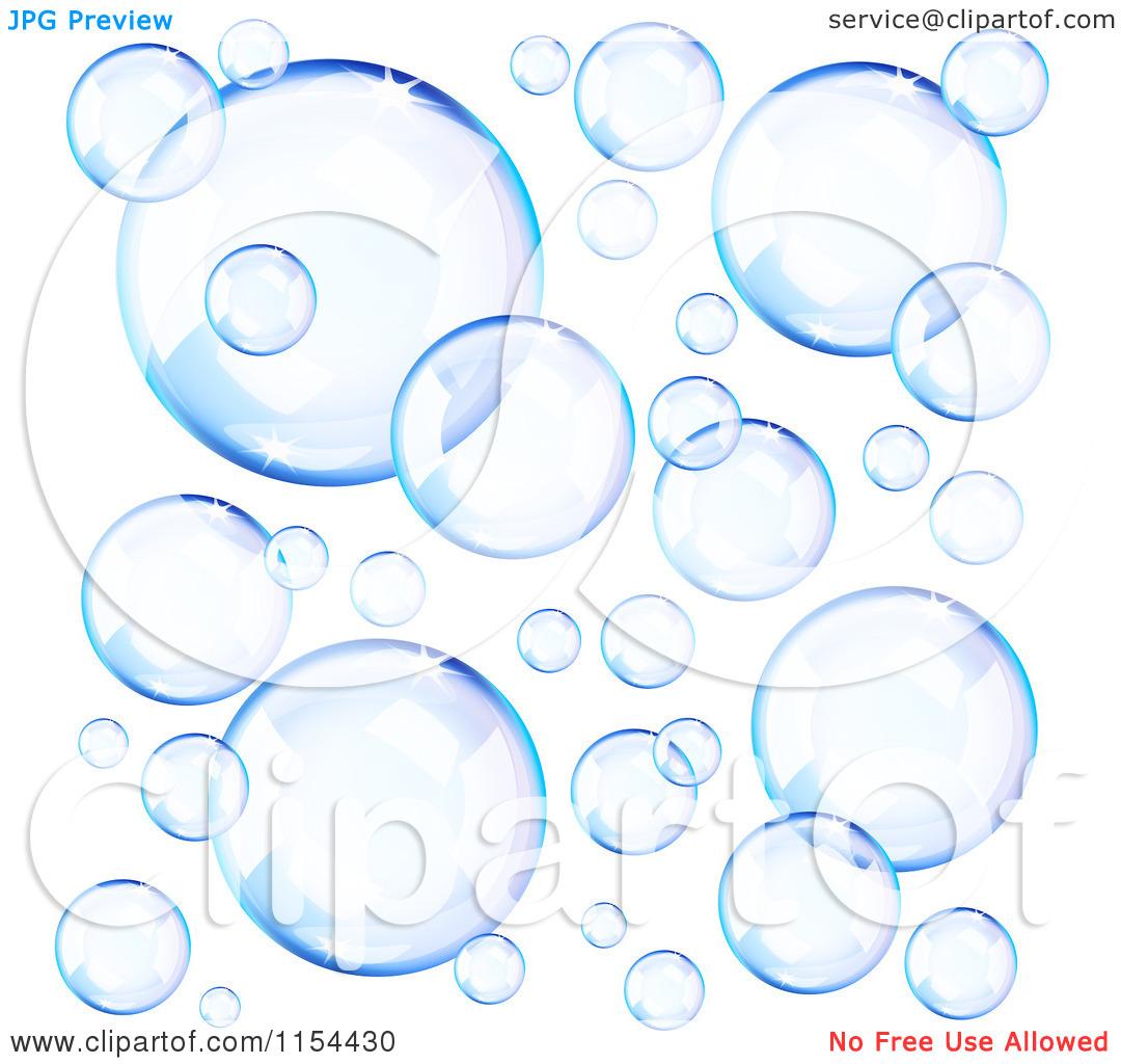 Clipart Of Reflective Blue Soap Bubbles.