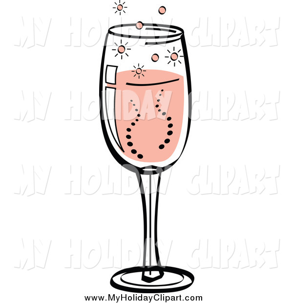 Clip Art of a Glass of Bubbly Champagne by Andy Nortnik.
