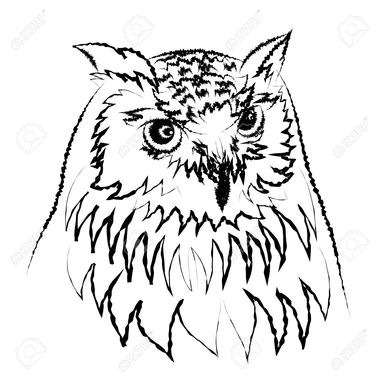 Line Art Of Siberian Eagle Owl, Or Bubo Bubo Sibiricus Vector.