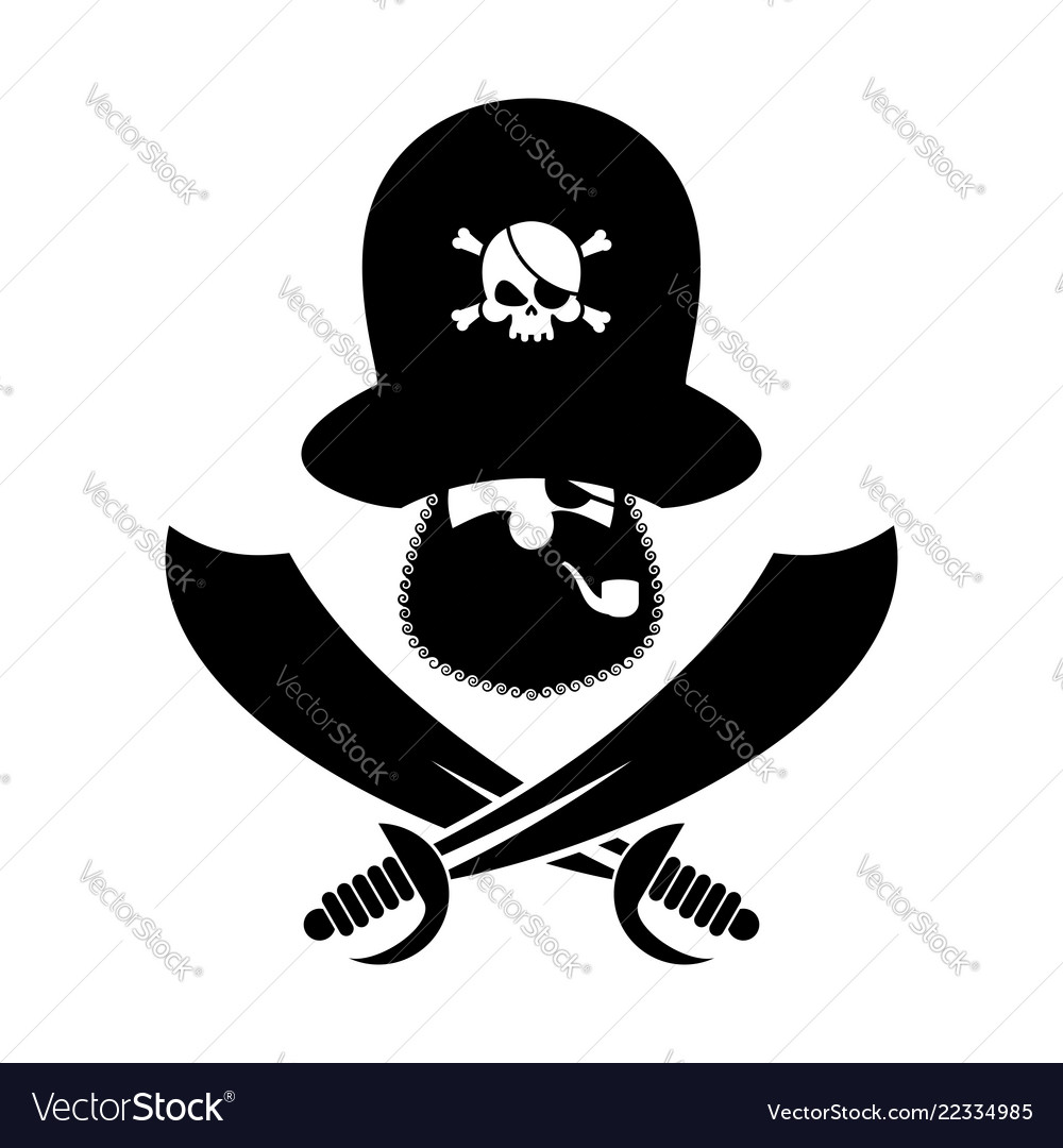 Pirate logo head of buccaneer and sabers pirate.