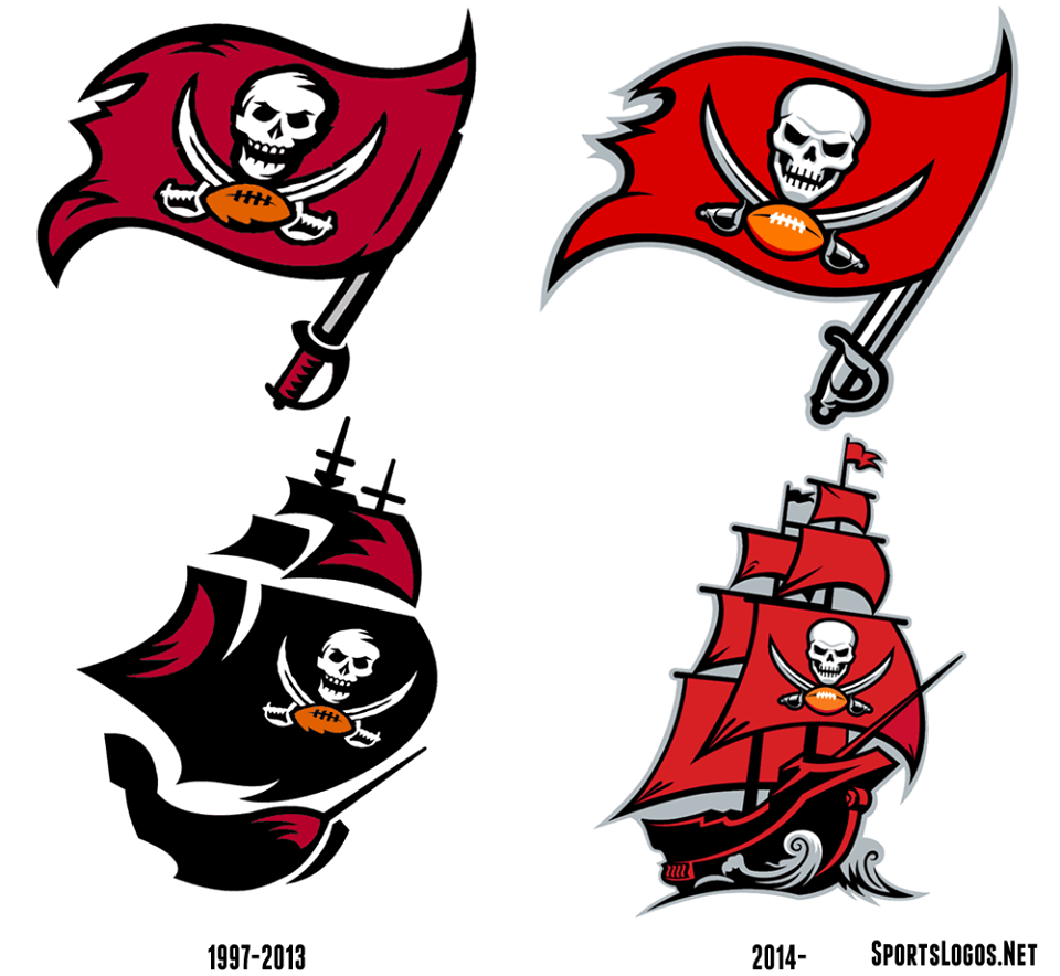 the new and old Tampa Bay Buccaneers logos.