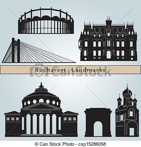Clipart Vector of Bucharest landmarks and monuments isolated on.