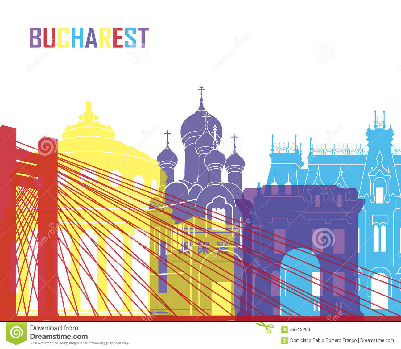 Bucharest Cityscape Stock Illustrations.