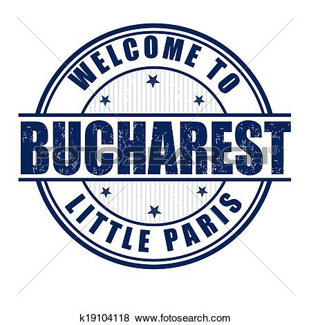 Clip Art of Welcome to Bucharest stamp k19104118.