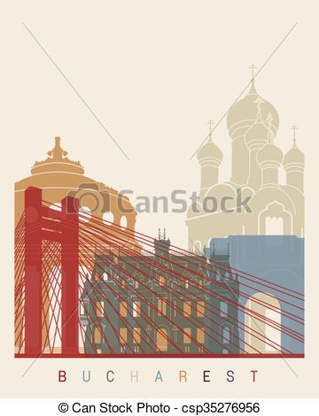 Clipart Vector of Bucharest skyline poster in editable vector file.