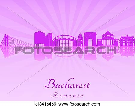 Clip Art of Bucharest skyline in purple radiant orchid k18415456.