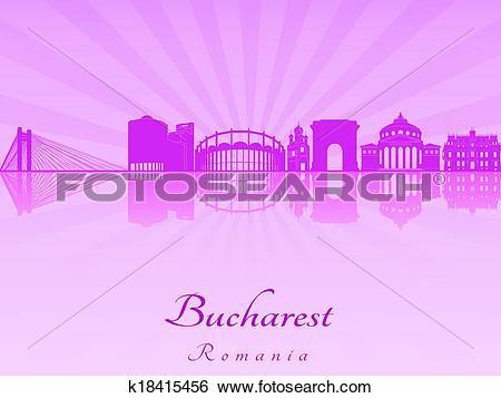 Clip Art of Bucharest skyline in purple radiant orchid k18415456.