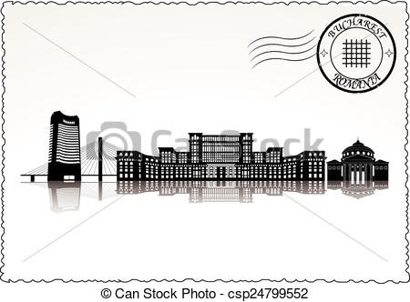 Clipart Vector of Bucharest city skyline black & white vector.