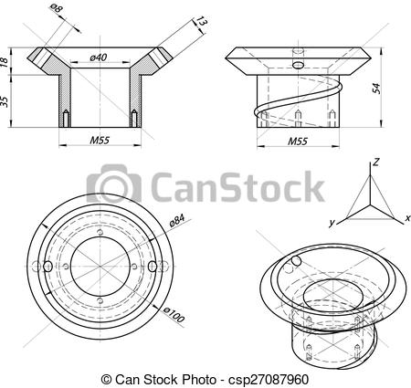Clip Art Vector of Bushing sketch. Engineering drawing. Vector.