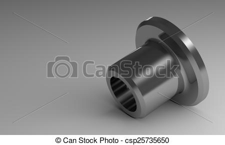 Stock Illustrations of Steel flanged bushing.