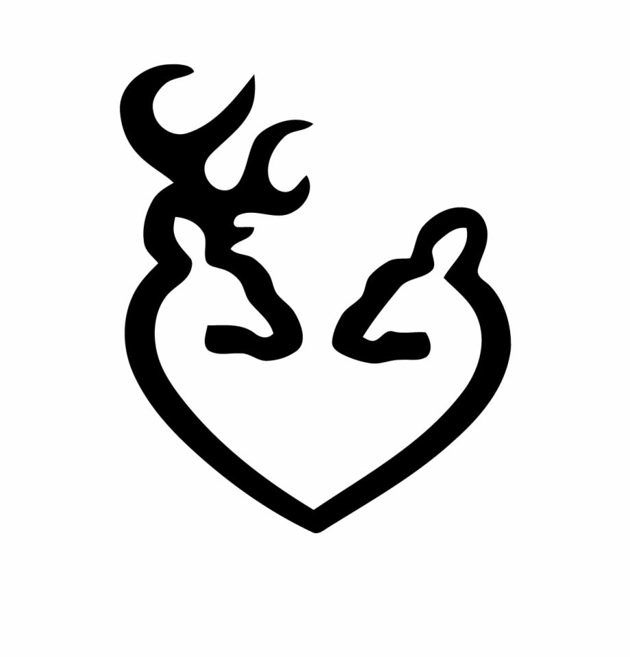 Deer Heads Heart Decal.