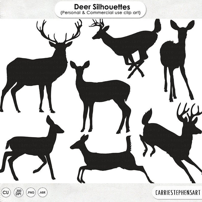Deer Clip Art Silhouettes & Outlines, Buck and Doe Party, Christmas  Reindeer ClipArt, Animal ClipArt Digital Graphics, Deer PNG Images.