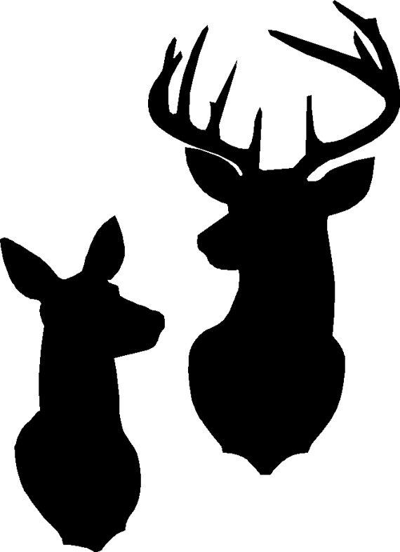 Deer And Doe Head Silhouette.