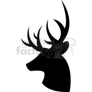 side silhouette buck deer illustration silouhette vector graphic clipart.  Royalty.