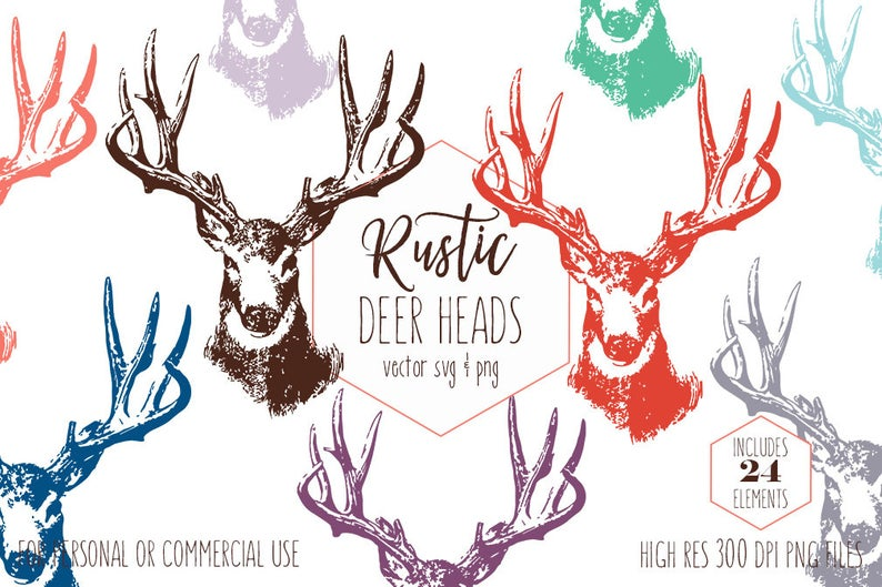 BUCK DEER HEAD Clipart for Commercial Use Rustic Antlers Clip Art Woodland  Forest Stag Rainbow Colors Animal Vector Digital Graphics Svg.