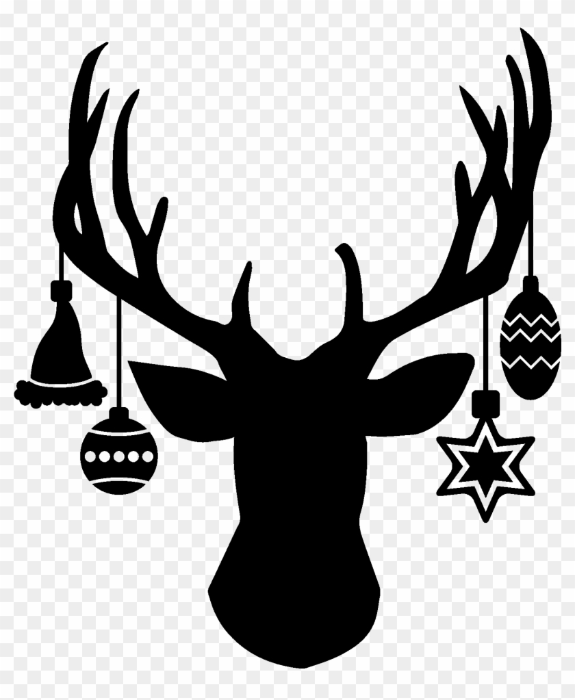 Deer Head With Hanging Ornaments.