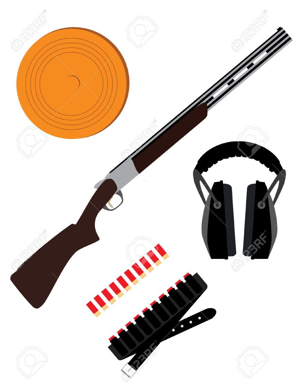 Skeet Rifle,headphones For Shooting, Buckshot And Clay Disk.