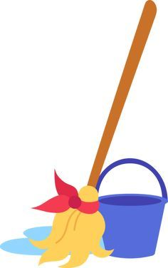 Mop and Bucket Clip Art.