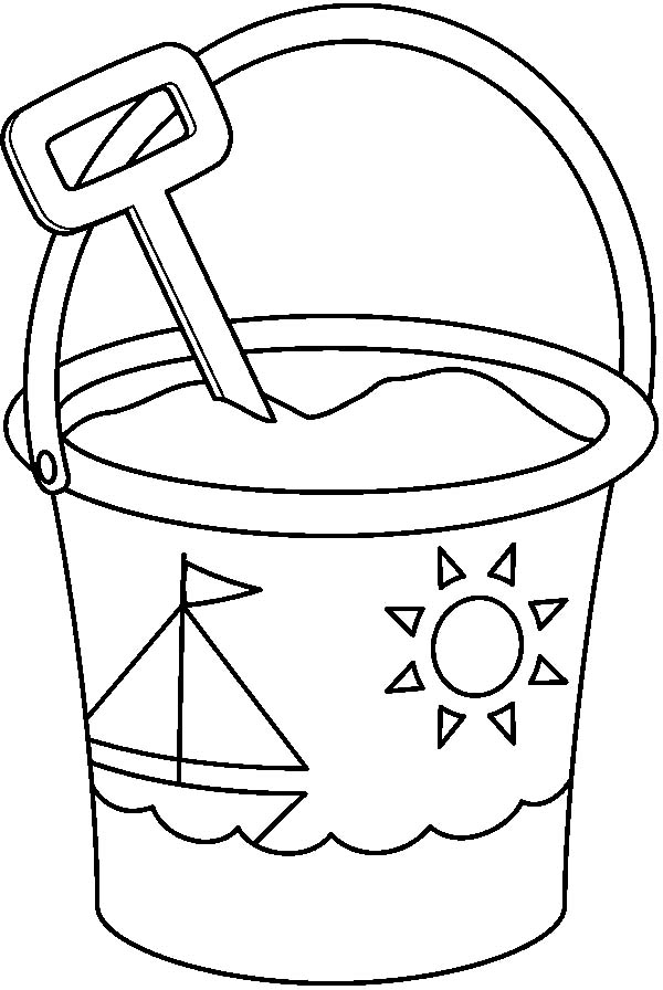 Bucket And Spade Clipart Black And White.