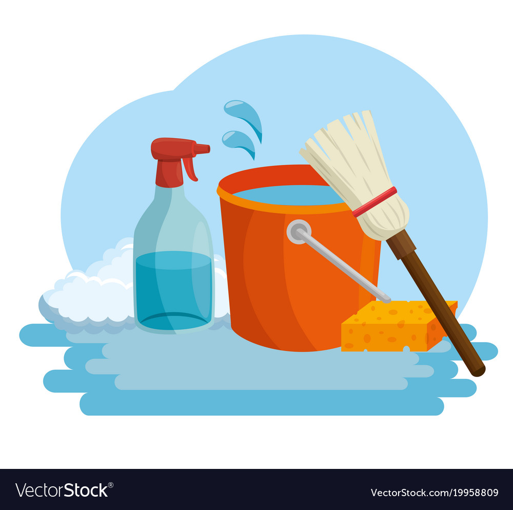 Cleaning supplies with bucket sponge and spray.