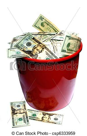 Stock Photographs of Money Bucket.