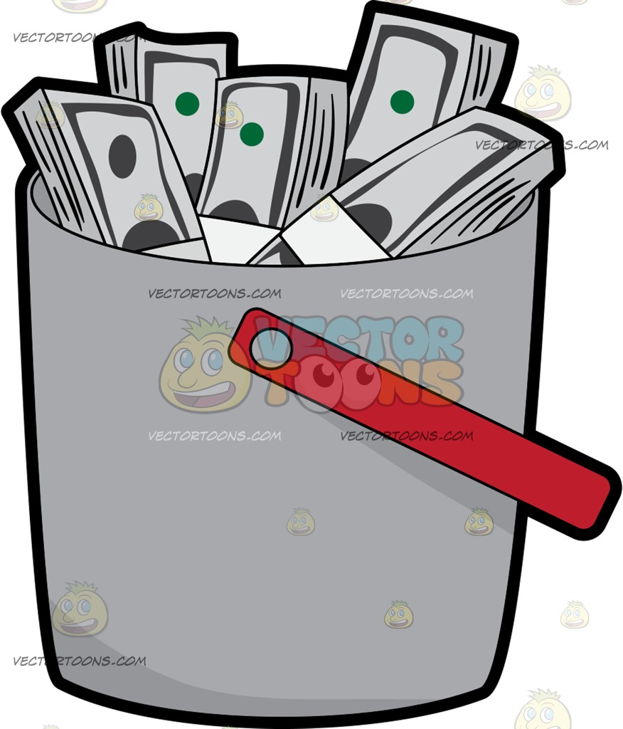 Stacks Of Money Inside A Bucket.
