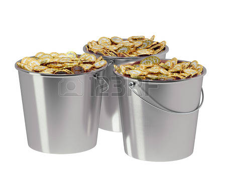 376 Bucket Of Money Stock Vector Illustration And Royalty Free.