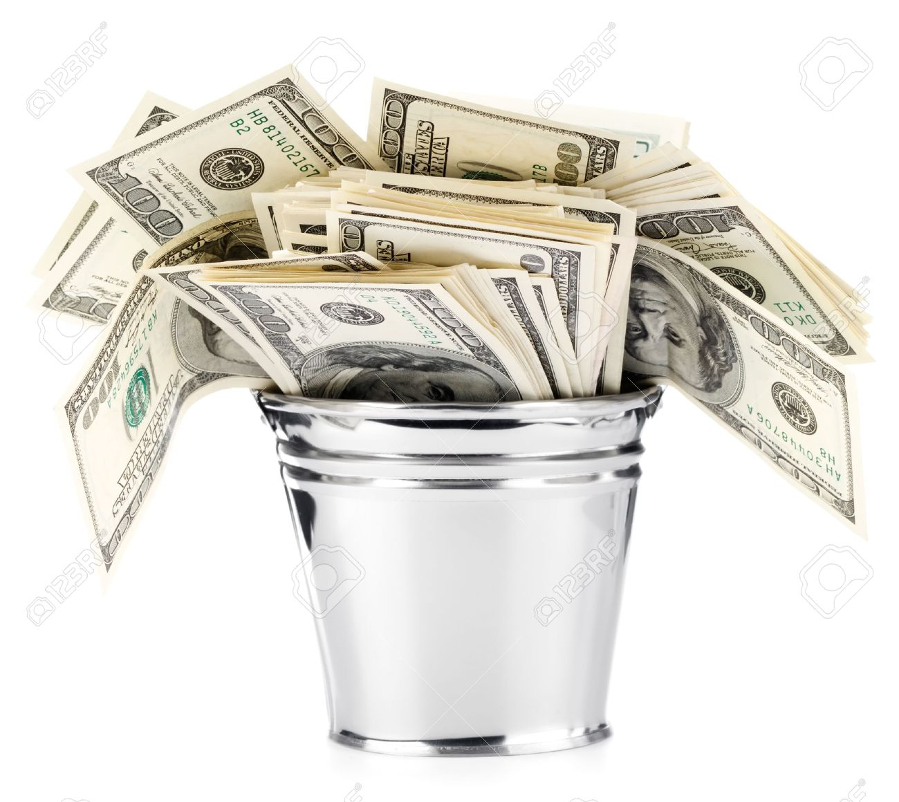Dollar In Pail Stock Photo, Picture And Royalty Free Image. Image.