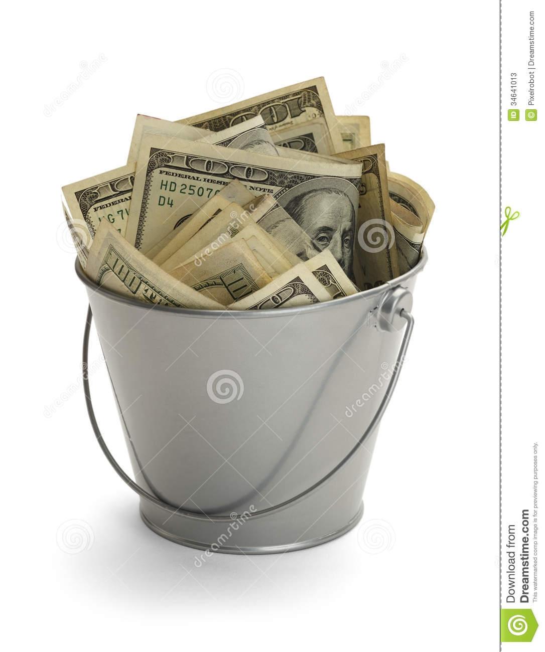 Bucket Of Money Clipart.