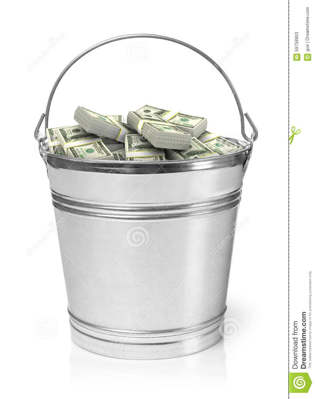 Bucket Full Of Money Stock Photo.