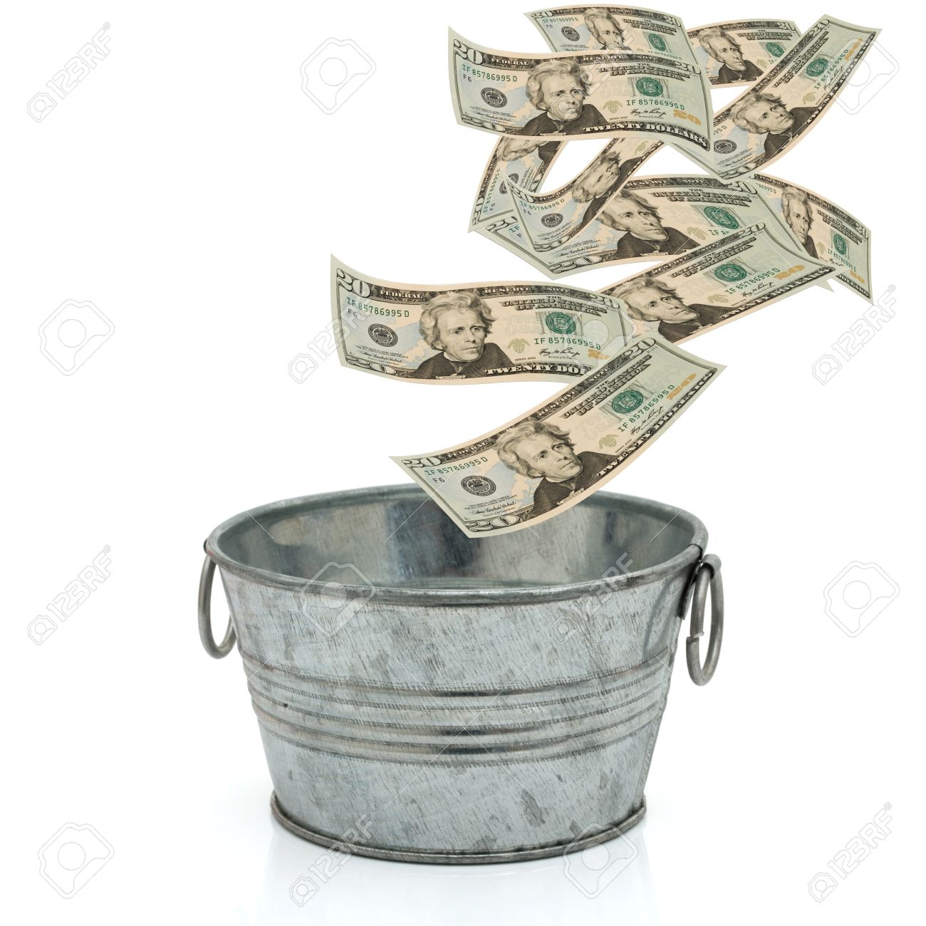Bucket Of Money, Having A Lot Of Money Stock Photo, Picture And.