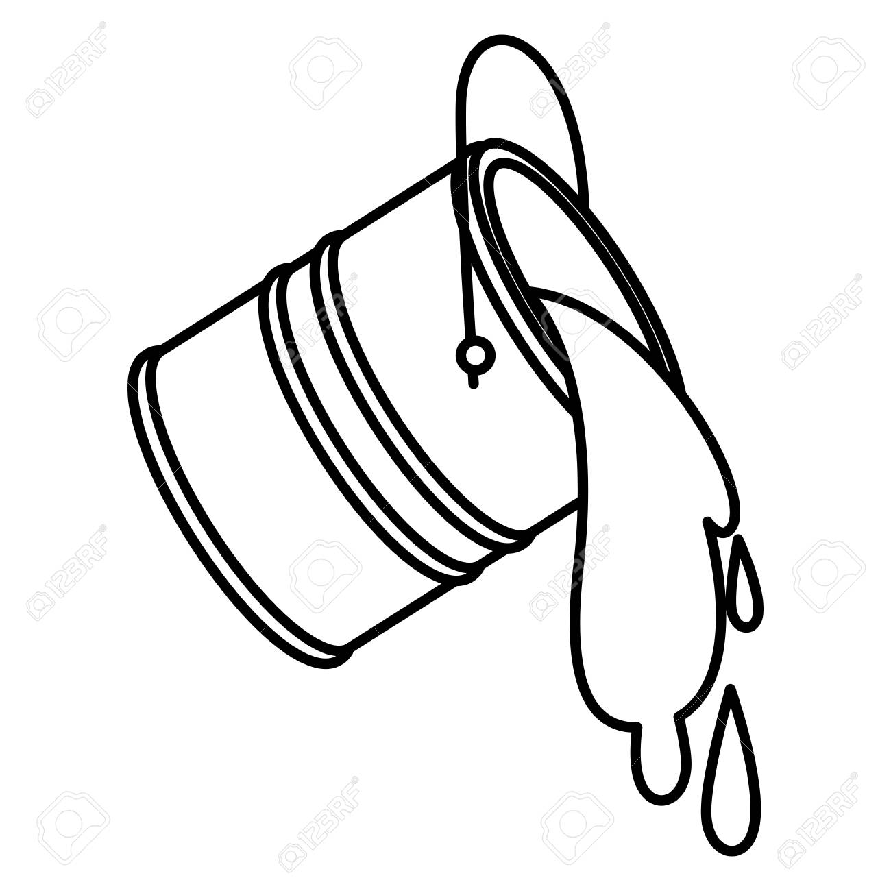 Paint bucket spilling icon in black contour vector illustration..