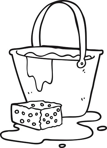 black and white cartoon bucket of soapy water Clipart Image.