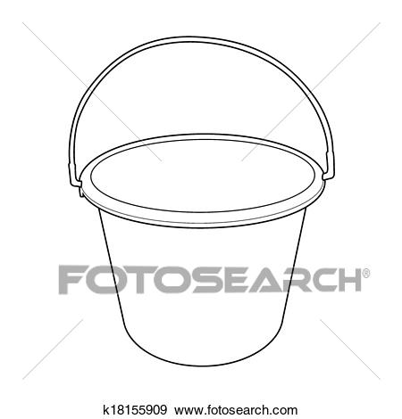 Water bucket outline vector Clip Art.