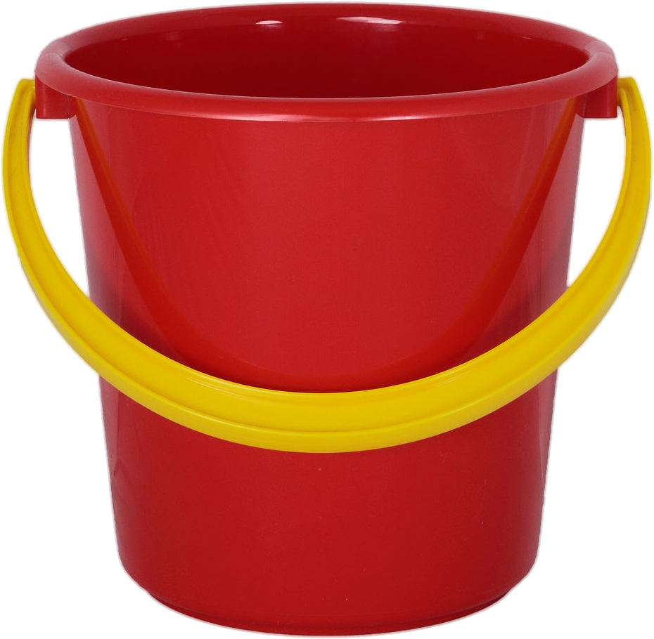 Red PLastic Bucket PNG Image.
