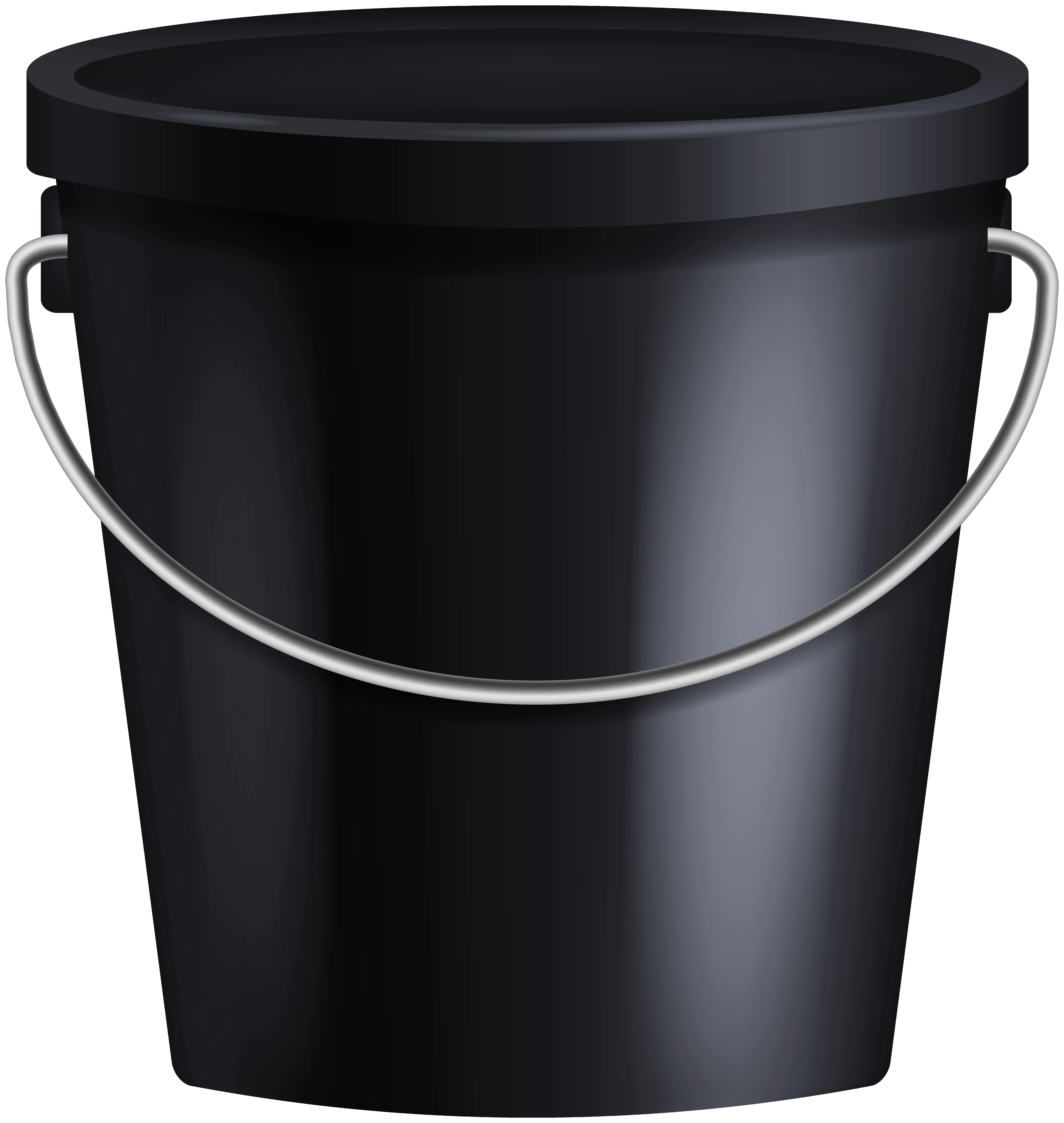 Black Bucket PNG Clipart.