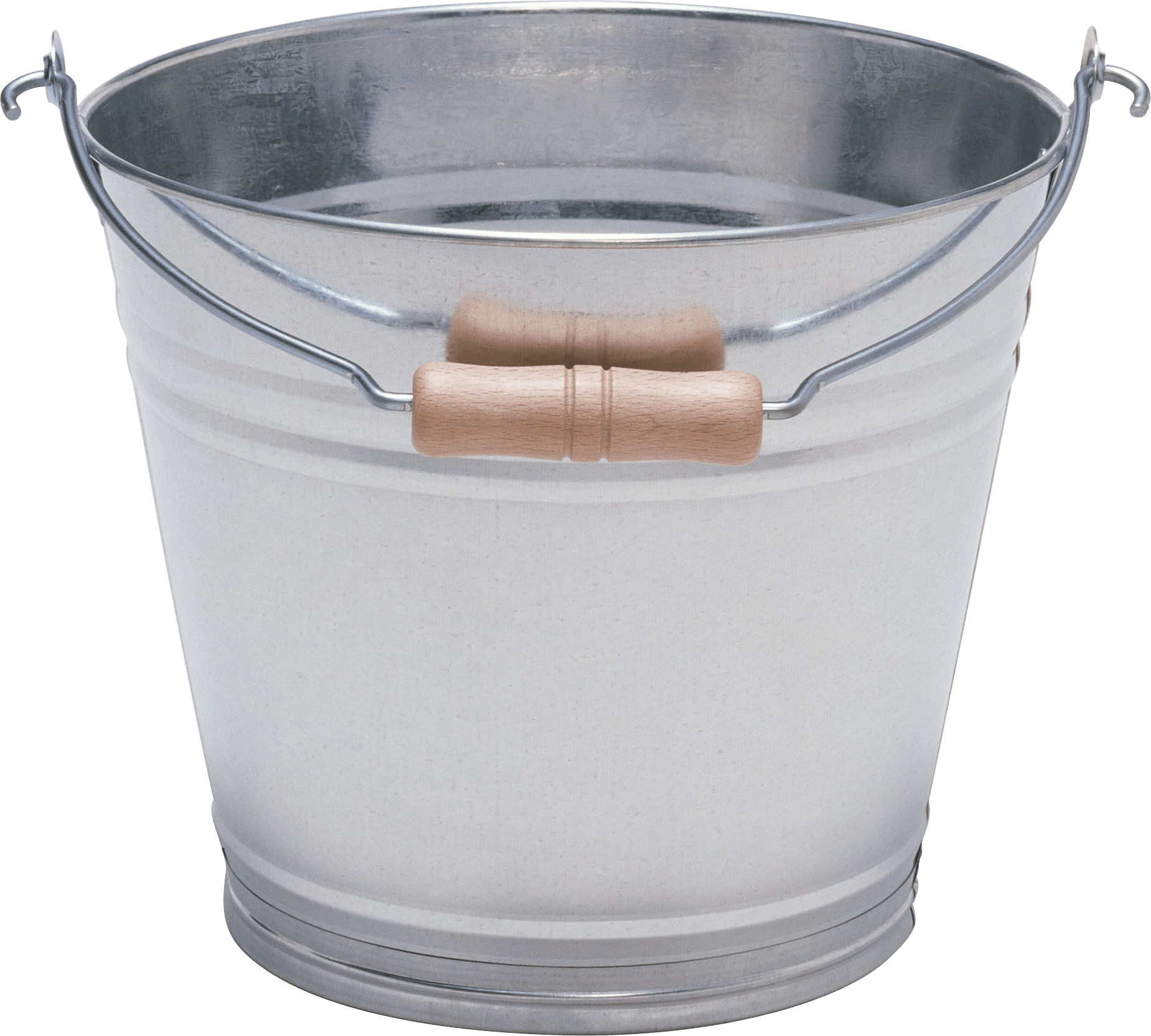 Silver With Wood Bucket transparent PNG.