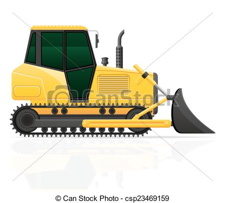 Clipart Vector of caterpillar tractor with bucket front seats.